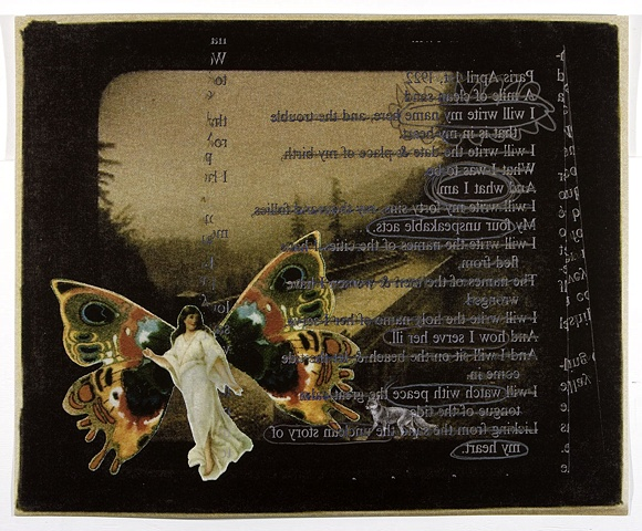 Pop Surrealism mixed media collage image text image Fairies fox & sunset