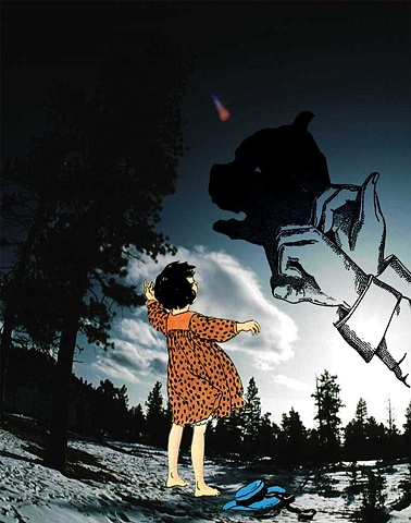 Pop Surrealism mixed media collage image. shadow puppets