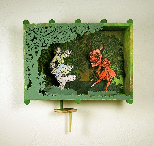 Pop Surrealism mixed media collage Diorama