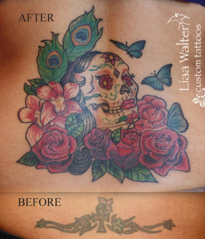 Gypsy sugar skull with roses and orchids
