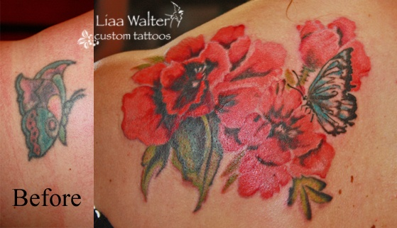 watercolor poppies butterfly custom tattoos Liaa Walter