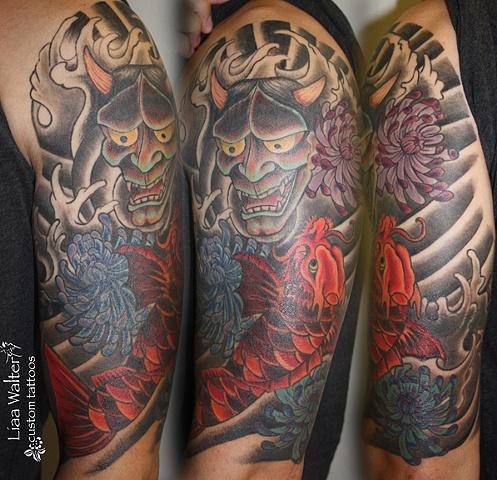 AFTER- Japanese Sleeve with dragon koi and hannya mask