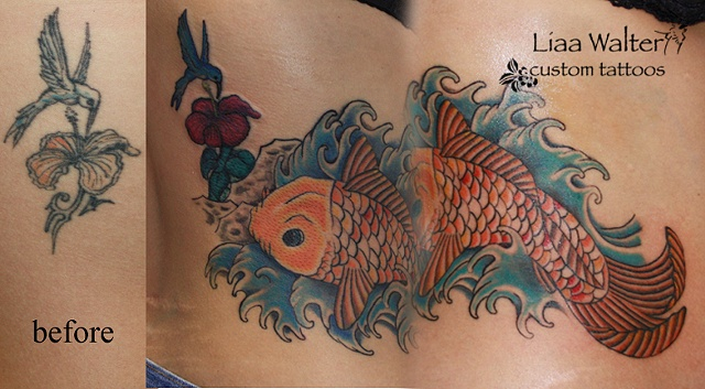 koi cover-up touch up Liaa Walter custom tattoos
