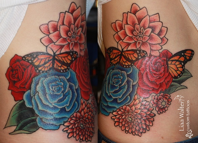 After, Dahlias and Roses with butterflies