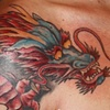Japanese dragon in reds and blues