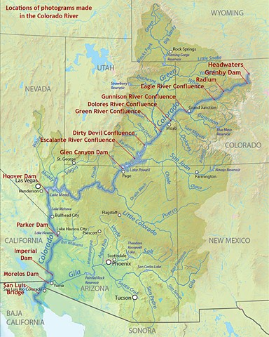 Map of Colorado River as it flows from headwaters in Northern Colorado to the Gulf of California in Mexico.