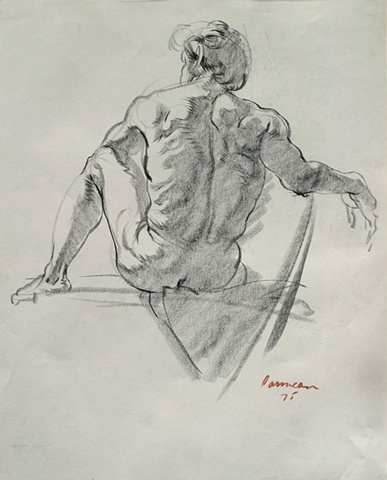 Seated Male Nude Facing Back