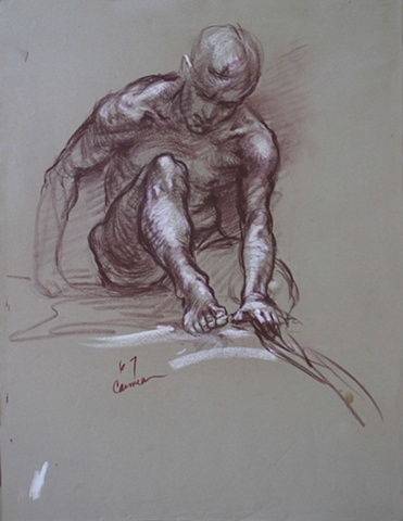 Crouching Male Nude