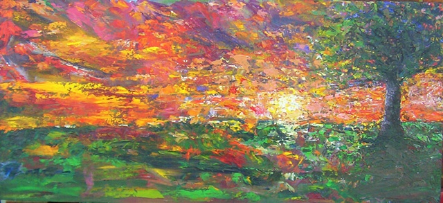 landscape,palette knife,painterly,sunrise, sunset,trees,pasture