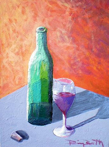 acrylic, painterly, impasto, wine, glass,