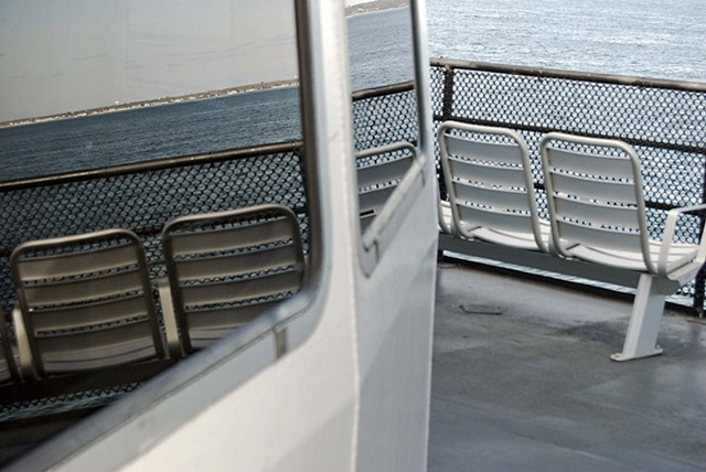 ferry to Martha's vineyard, geometric image, reflections