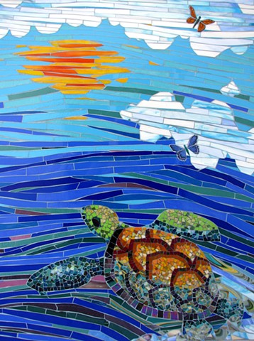 Return Through Sky River, sea turtle detail