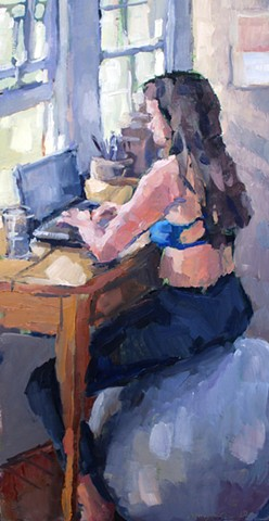 Work From Home, 20x10in, oil on panel, available