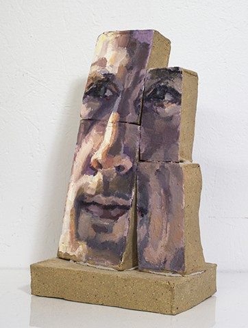 Individuation (side), oil and mortar on ceramic, 13 x 7 x 5in, available