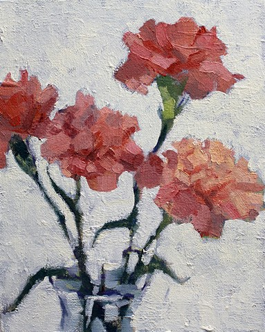 Carnations, 8x10in, oil on canvas, available