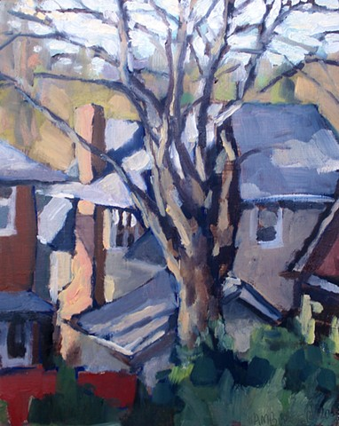 Montford Roofs, 10x8in, oil on panel, sold