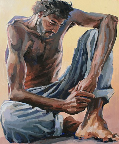 The Thinker, oil on canvas, 48x60in, available