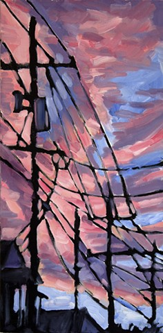 Pink Dusk, 10in x 20in, oil on canvas