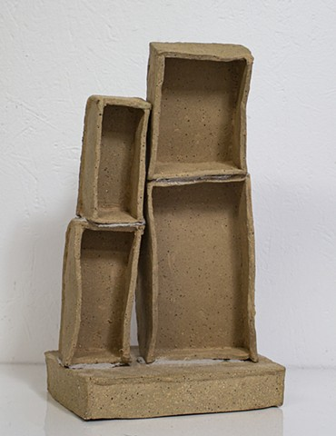 Individuation (back), oil and mortar on ceramic, 13 x 7 x 5in, available