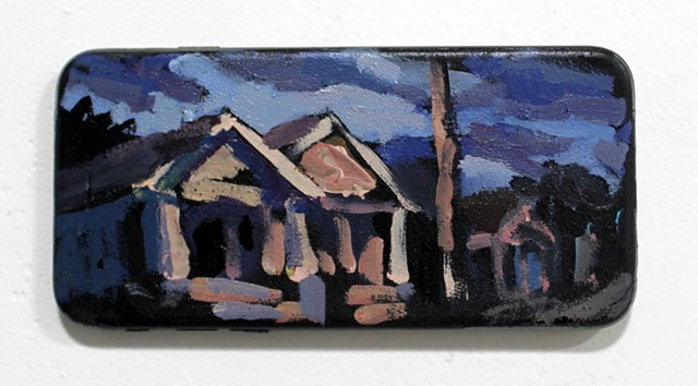 Neighborhood, acrylic on broken cell phone, 3x5in, sold