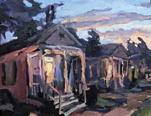 Sunset Neighbors, 14x18in, oil on panel, sold