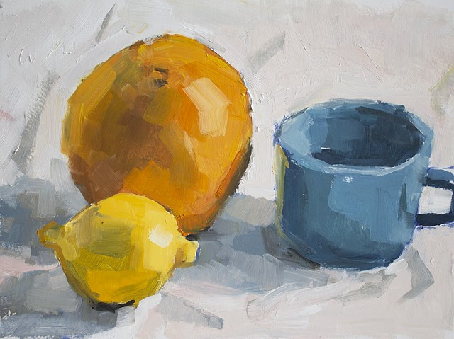 Still Life with Citrus and Mug, 9x12in, oil on cradled panel, sold