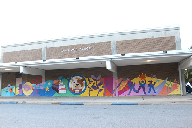 Lakewood Elementary Read for the Record Mural, Durham, NC