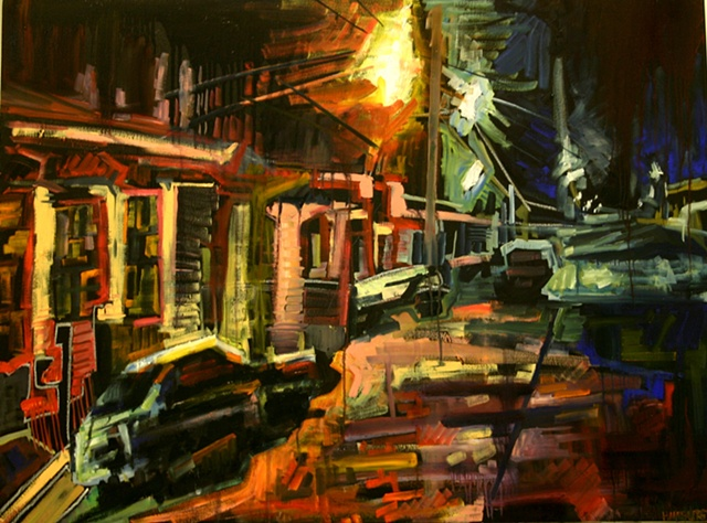 Street Nocturne Moving Toward Abstraction, 3ft x 4ft, oil on canvas