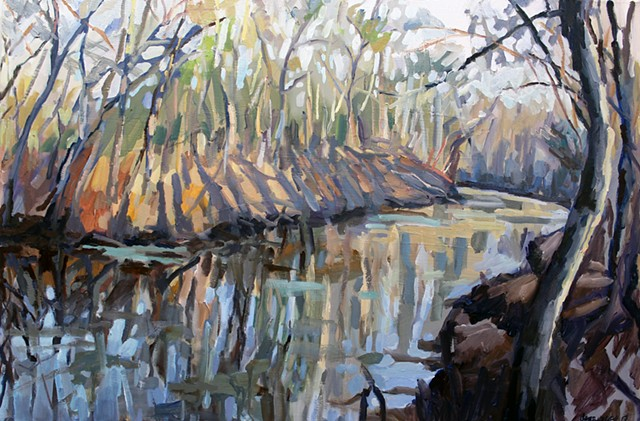 Winter Bayou, 24x36in, oil on canvas