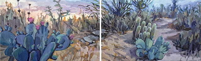 Desert Perspective, 30x96in, oil on canvas, diptych, sold