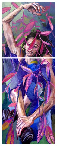 Flora/Fauna, 79x30in, diptych, oil on canvas, available