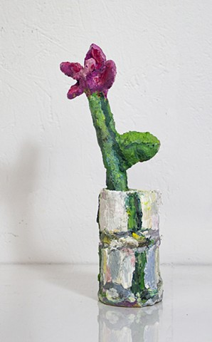 Trompe L'oeil Flower, oil on ceramic, 9 x 2.5 x 2.5in, available