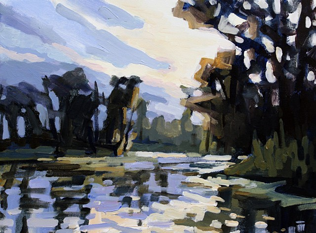 Dusk on the Bayou, 12x16in, acrylic on panel, AVAILABLE