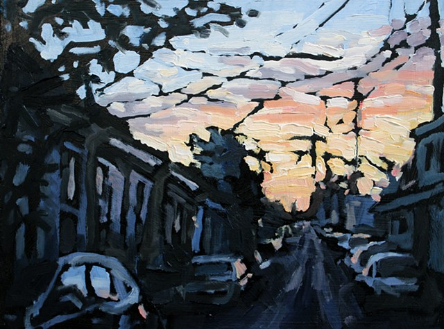 Uptown Sunset, oil on panel, 9x12in
