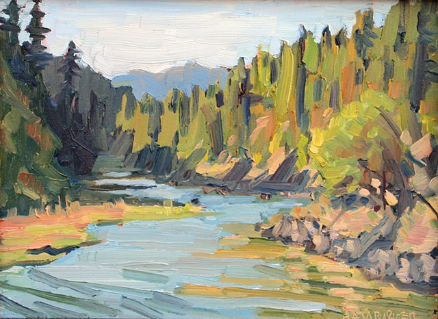 White Salmon River 9x12in Oil on canvas