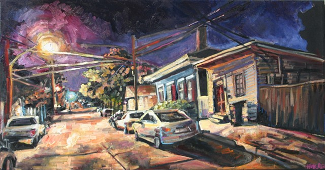 Warm Street Light, 25.5in x 48.5in, oil on canvas