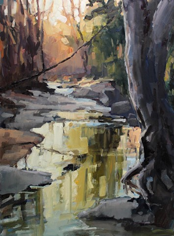 Downstream, 40x30in, oil on canvas, available