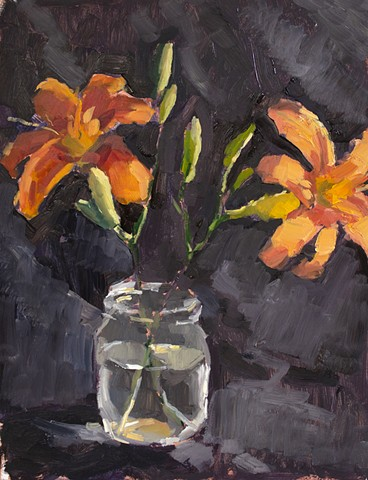 Lilies, 16x12in, oil on panel, available