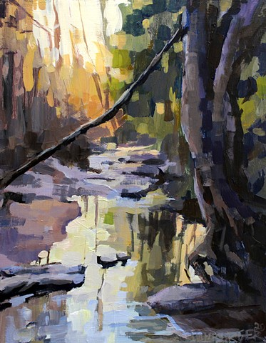 Creek at the Botanical Gardens, 11x14in, Acrylic on panel, SOLD