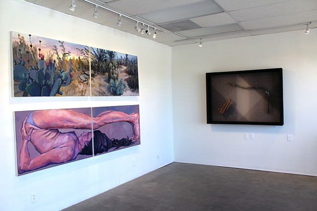 Installation of 'Passing Through' Group Exhibit at Joshua Tree Gallery of Art, May 2019, with sculptural work by Annika Bowker