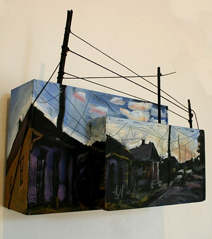 Morning Composite, 6in x 12in x 14in, oil on wooden boxes with mixed media