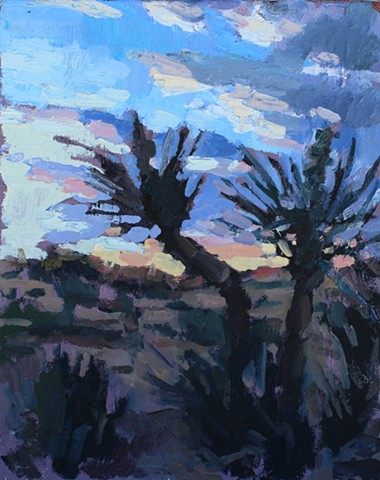 Yucca Sunset, 8x10in, oil on canvas, sold