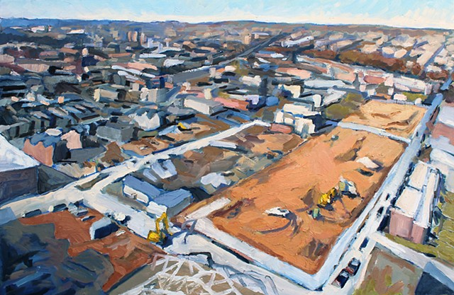 Aerial East Baltimore, 24x36in, oil on canvas