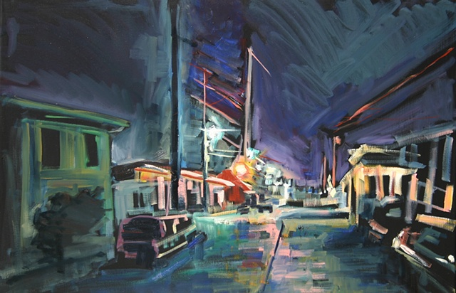Street Nocturne, 20in x 30in, oil on canvas
