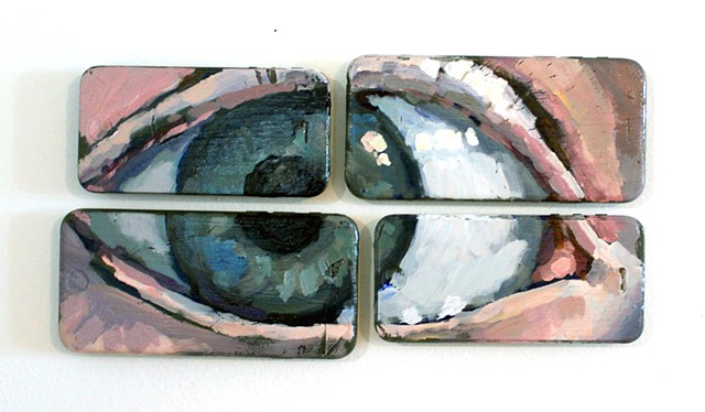 Eye Phone, acrylic on broken cell phones, 6x12in, available