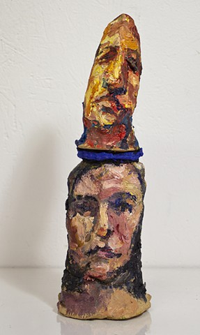 Higher Self, oil and mortar on ceramic, 11 x 4 x 3in, available