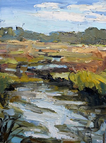 Low Country Marsh, oil on panel, 12x9in