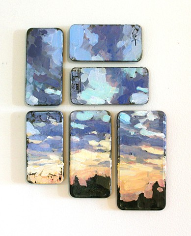Sunset, Acrylic on cell phones, 12x7in, available