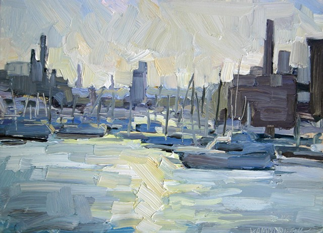 Sundown at the Harbor, oil on panel, 9x12