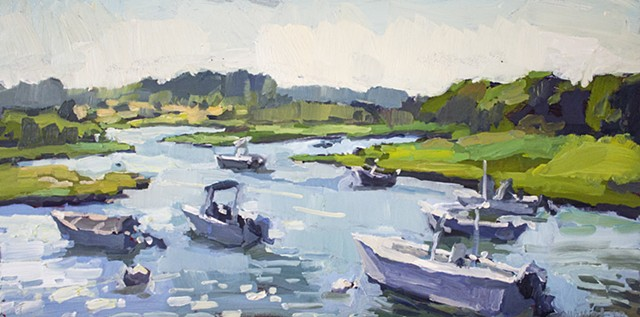 Menemsha Creek Harbor, 12x24in, oil on panel, sold